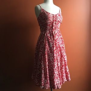 ANTHROPOLOGIE Odille Red White Floral Print Dress2